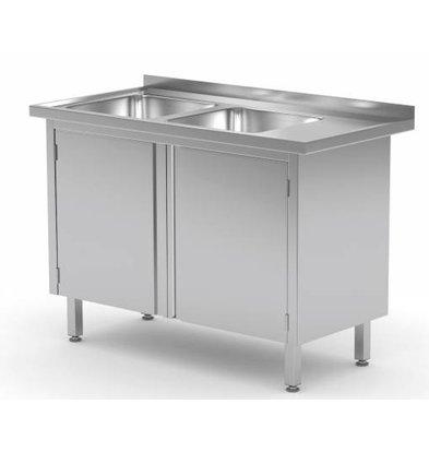 XXLselect Sink Stainless Steel Sinks + 2 + 2 Swing doors | 1100 (b) x600 (d) mm | CHOICE OF 5 WIDTHS