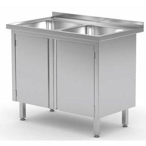 XXLselect Stainless Steel Sink Sinks + 2 + 2 Swing doors | 600 (b) x600 (d) mm | CHOICE OF 2 WIDTHS