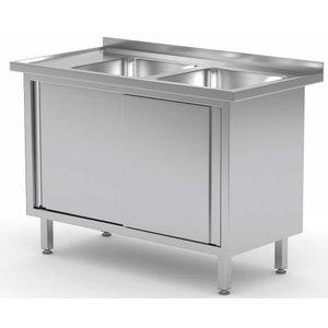 XXLselect Sink Stainless Steel Sinks + 2 + 2 Doors   1100 (b) x600 (d) mm   CHOICE OF 9 WIDTHS