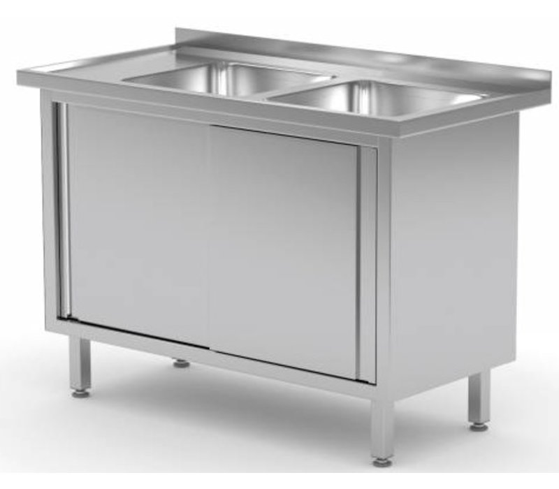 XXLselect Sink Stainless Steel Sinks + 2 + 2 Doors | 1100 (b) x600 (d) mm | CHOICE OF 9 WIDTHS