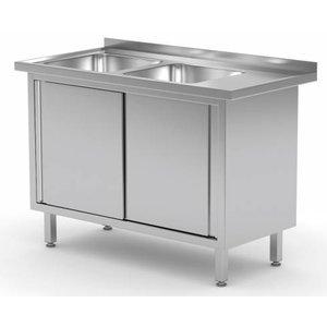 XXLselect Sink Stainless Steel Sinks + 2 + 2 Doors | 1100 (b) x600 (d) mm | CHOICE OF 9 WIDTHS