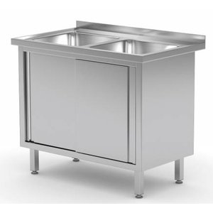XXLselect Stainless Steel Sink + 2 sinks 400x400x250 (h) + 2 + Sliding Water Ridge | (b) 1000mm | 600mm (d)