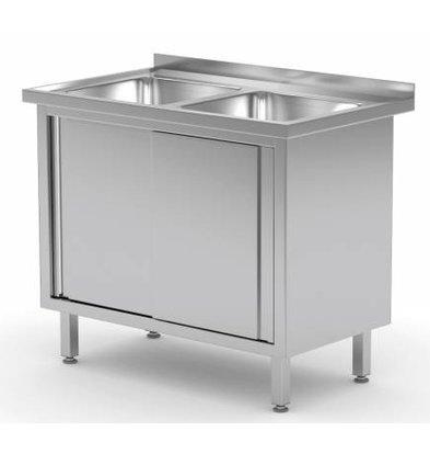 XXLselect Stainless Steel Sink + 2 sinks 400x400x250 (h) + 2 + Sliding Water Ridge | (b) 1000mm | 600mm (d)