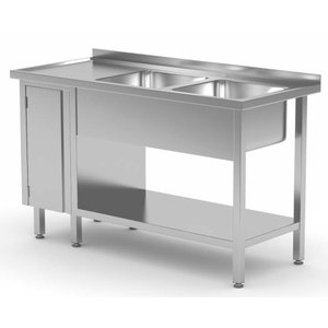 XXLselect Stainless Steel Sink Sinks + 2 + 1 Swing door   1400 (b) x600 (d) mm   CHOICE OF 7 WIDTHS