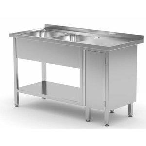 XXLselect Stainless Steel Sink + 2 sinks XXL + 1 Swing door | 1400 (b) x700 (d) mm | CHOICE OF 7 WIDTHS