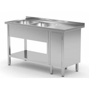 XXLselect Stainless Steel Sink Sinks + 2 + 1 Swing door | 1400 (b) x600 (d) mm | CHOICE OF 7 WIDTHS