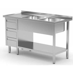 XXLselect Stainless Steel Sink + 2 sinks XXL + 3 drawers | 1400 (b) x700 (d) mm | CHOICE OF 7 WIDTHS