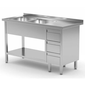 XXLselect Stainless Steel Sink Sinks + 2 + 3 drawers   1400 (b) x600 (d) mm   CHOICE OF 7 WIDTHS