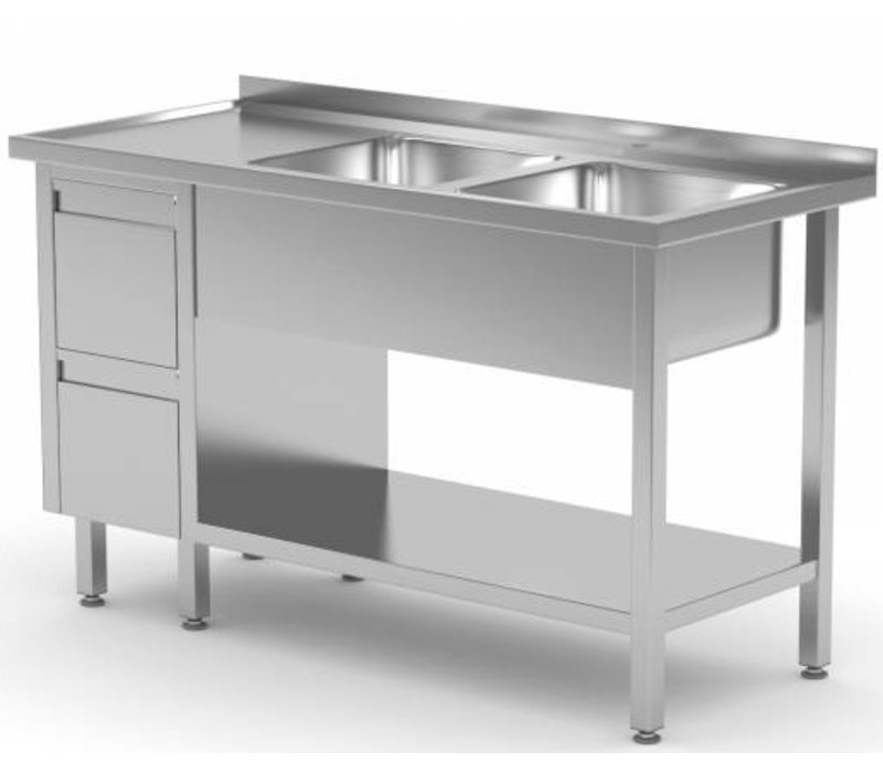 XXLselect Stainless Steel Sink Sinks + 2 + 2 drawers | 1400 (b) x600 (d) mm | CHOICE OF 7 WIDTHS
