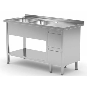 XXLselect Stainless Steel Sink + 2 sinks XXL + 2 drawers | 1400 (b) x700 (d) mm | CHOICE OF 7 WIDTHS