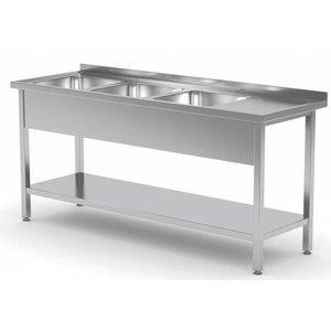 XXLselect Stainless Steel Sink Sinks XXL + 3 + Bottom Shelf | 1500 (b) x600 (d) mm | CHOICE OF 5 WIDTHS