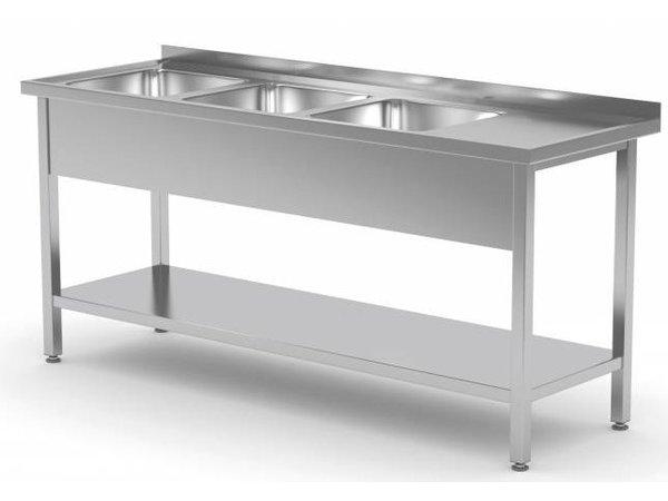 XXLselect Edelstahl-Wannen-Spülen XXL + 3 + Bottom Shelf   1500 (b) x600 (d) mm   Auswahl von 5 WIDTHS