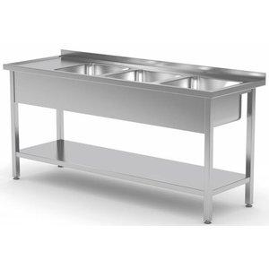 XXLselect Stainless Steel Sink Sinks XXL XXL + 3 + Bottom Shelf | 1500 (b) x700 (d) mm | CHOICE OF 5 WIDTHS