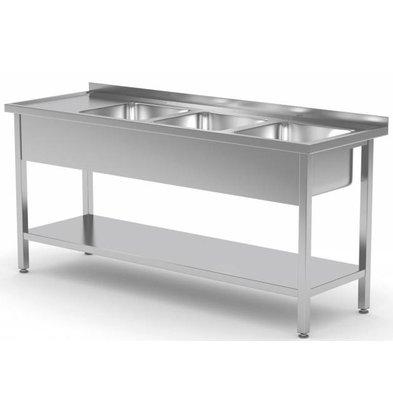 XXLselect Edelstahl-Wannen-Spülen XXL + 3 + Bottom Shelf | 1500 (b) x600 (d) mm | Auswahl von 5 WIDTHS