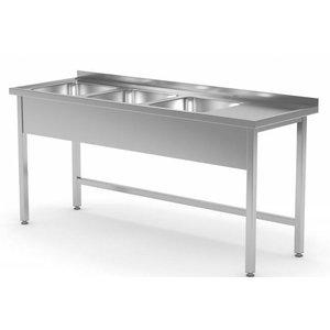 XXLselect Stainless Steel Sink Sinks XXL XXL + 3 + Open Bottom | 1500 (b) x700 (d) mm | CHOICE OF 5 WIDTHS