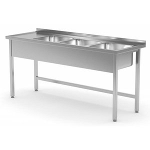 XXLselect Stainless Steel Sink XXL + 3 Sinks | Open Bottom | 1500 (b) x600 (d) mm | CHOICE OF 5 WIDTHS