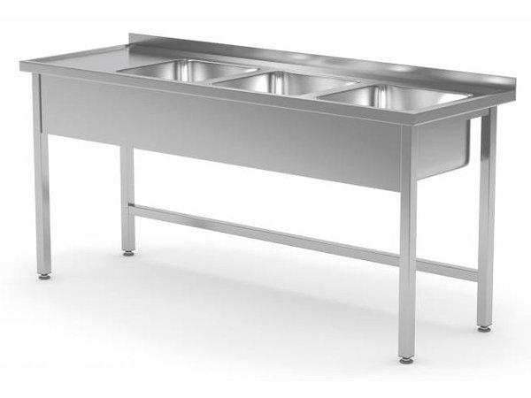 XXLselect RVS Spoeltafel XXL + 3 Spoelbakken | Open Onderkant | 1500(b)x600(d)mm | KEUZE UIT 5 BREEDTES
