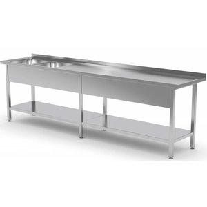 XXLselect Stainless Steel Sink Sinks XXL XXXL + 2 + Bottom Shelf | 2000 (b) x700 (d) mm | CHOICE OF 9 WIDTHS