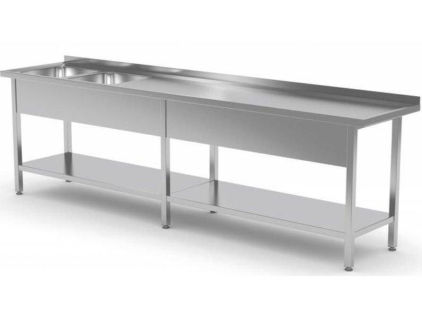 XXLselect Stainless Steel Sink Sinks XXL XXXL + 2 + Bottom Shelf   2000 (b) x700 (d) mm   CHOICE OF 9 WIDTHS