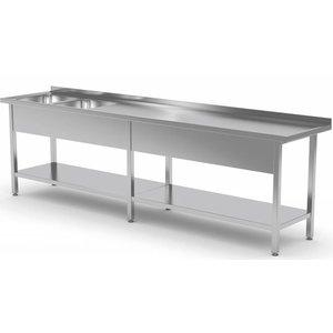 XXLselect Stainless Steel Sink XXXL + 2 Sinks of 400x400x (h) 250 | 2000 (b) x600 (d) mm | CHOICE OF 9 WIDTHS