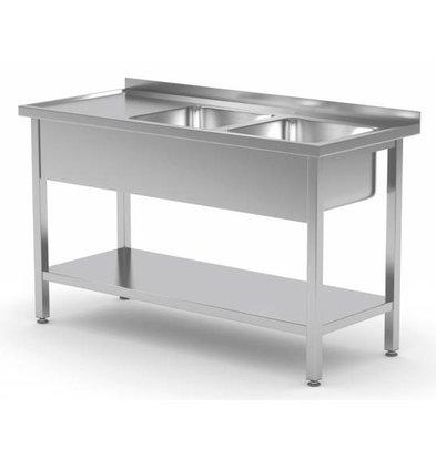 XXLselect Stainless Steel Sink + 2 Sinks 400x400x (h) 250 | 1100 (b) x600 (d) mm | CHOICE OF 9 WIDTHS