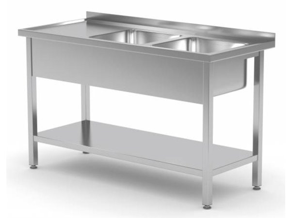 XXLselect Stainless Steel Sink + 2 Sinks 400x400x (h) 250 | 1100 (b) x600 (d) mm | CHOICE OF 9 WIDTHS