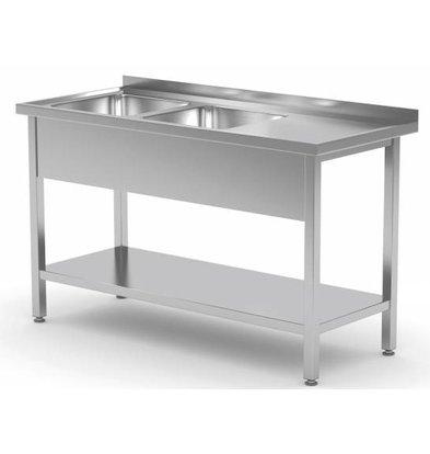 XXLselect Stainless Steel Sink + 2 Sinks of 400x400x (h) 250 | 1100 (b) x (d) 600mm | CHOICE OF 9 WIDTHS