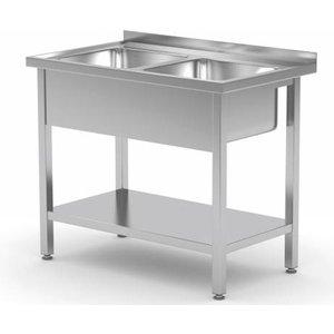 XXLselect Edelstahl-Spüle + 2 Spülen XXL 500x400x250 (h) + Bottom Shelf | (b) 1000 mm | 700 mm (d)
