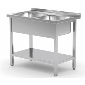XXLselect Stainless Steel Sink + 2 Sinks XXL 500x400x250 (h) + Bottom Shelf | (b) 1000mm | 700mm (d)