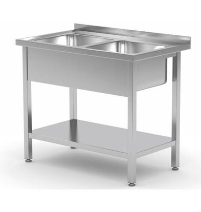 XXLselect Stainless Steel Sink + 2 Sinks XXL 500x400x250 (h) + Bottom Shelf | (b) 1000mm | 700mm (d)