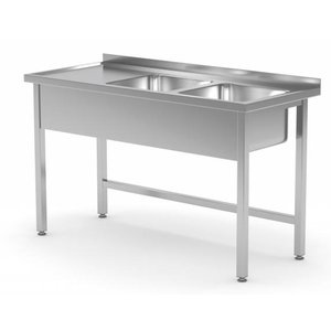 XXLselect Stainless Steel Sink + 2 Sinks (right) 400x400x (h) 250 | 1100 (b) x600 (d) mm | CHOICE OF 6 WIDTHS