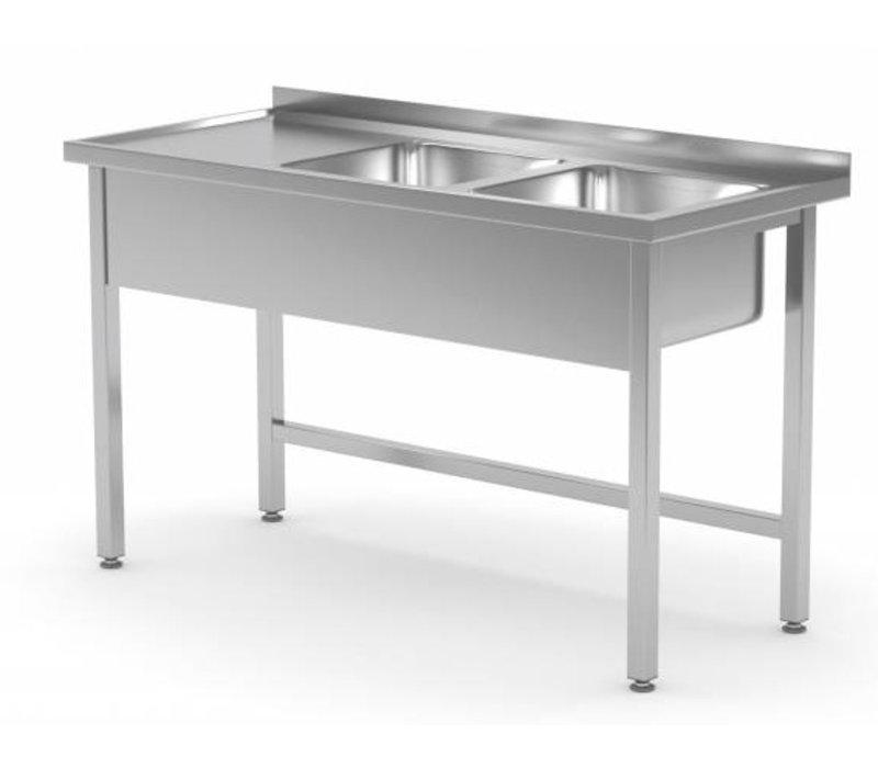 XXLselect Stainless Steel Sink + 2 Sinks (right) 400x400x (h) 250 | 1100 (b) x600 (d) mm | CHOICE OF 6 WIDTHS