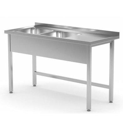 XXLselect Stainless Steel Sink + 2 Sinks XXL (left) of 500x400x (h) 250 | 1100 (b) x700 (d) mm | CHOICE OF 6 WIDTHS