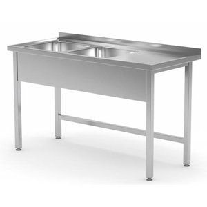 XXLselect Stainless Steel Sink + 2 Sinks (left) of 400x400x (h) 250 | 1100 (b) x (d) 600mm | CHOICE OF 6 WIDTHS