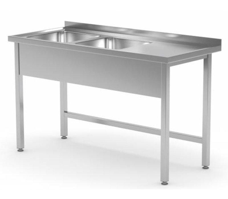XXLselect Edelstahl-Spüle + 2 Waschbecken (links) von 400x400x (h) 250 | 1100 (b) x (d) 600mm | Auswahl von 6 WIDTHS