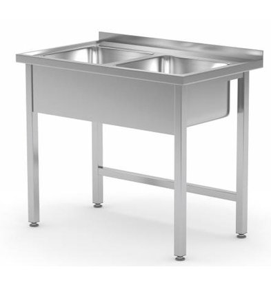 XXLselect Stainless Steel Sink + 2 Sinks of 400x400x (h) 250 | 800 (b) x600 (d) mm | CHOICE OF 2 WIDTHS
