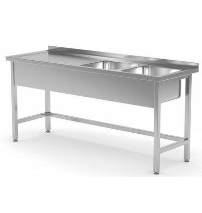 XXLselect Stainless Steel Sink Sinks XXL XXL + 2 (right) 500x400x (h) 250 | 1400 (b) x700 (d) mm | CHOICE OF 6 WIDTHS
