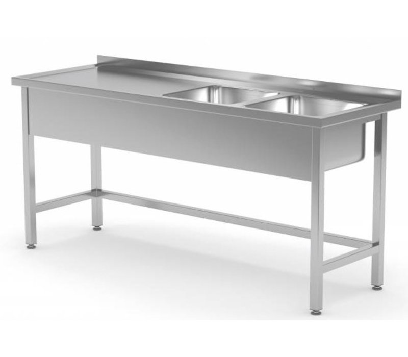 XXLselect Stainless Steel Sink XXL + 2 Sinks (right) 400x400x (h) 250 | 1400 (b) x600 (d) mm | CHOICE OF 6 WIDTHS