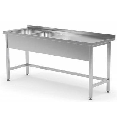 XXLselect Stainless Steel Sink XXL + 2 Sinks (left) of 400x400x (h) 250 | 1400 (b) x600 (d) mm | CHOICE OF 6 WIDTHS