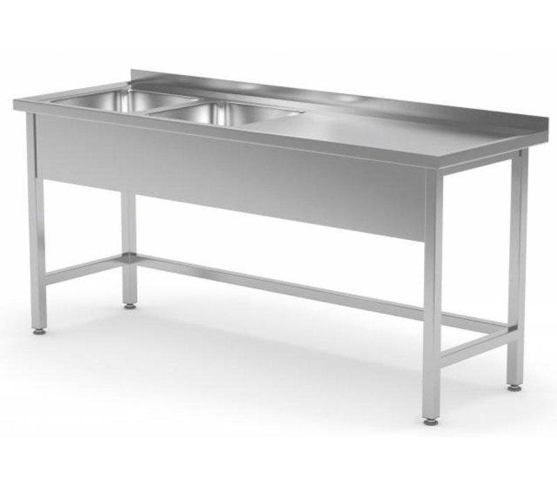 XXLselect Stainless Steel Sink XXL + 2 Sinks (left) of 400x400x (h) 250   1400 (b) x600 (d) mm   CHOICE OF 6 WIDTHS