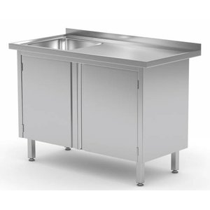 XXLselect Schrank + Sink (links) + 2 Pendeltüren 500x400x (h) 250 | Heavy Duty | 700 (b) x700 (d) mm | Auswahl von 9 WIDTHS
