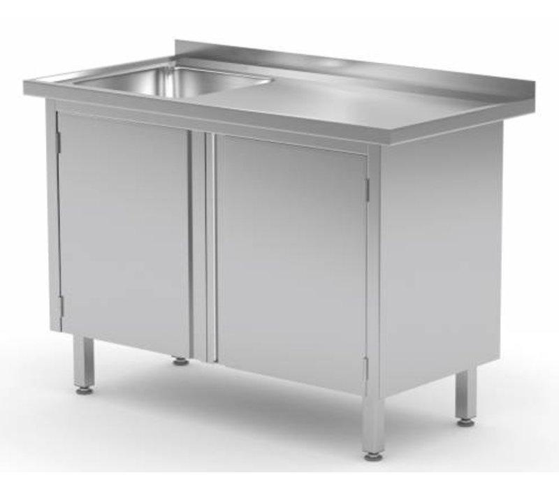 XXLselect Cupboard + Sink (left) + 2 Swing doors 500x400x (h) 250   Heavy Duty   700 (b) x700 (d) mm   CHOICE OF 9 WIDTHS