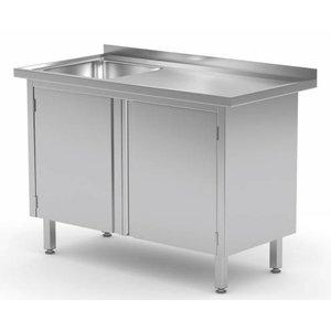 XXLselect Cupboard with sink (left) + 2 Swing doors 400x400x (h) 250   Heavy Duty   700 (b) x600 (d) mm   CHOICE OF 9 WIDTHS