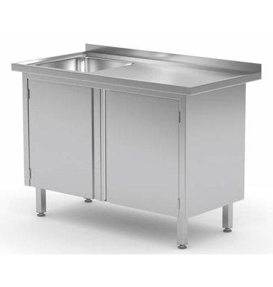 XXLselect Cupboard with sink (left) + 2 Swing doors 400x400x (h) 250 | Heavy Duty | 700 (b) x600 (d) mm | CHOICE OF 9 WIDTHS