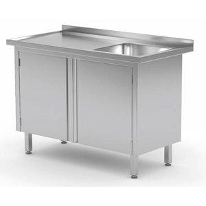XXLselect Cupboard + sink (right) + 2 Swing doors 400x400x (h) 250   Heavy Duty   700 (b) x600 (d) mm   CHOICE OF 9 WIDTHS