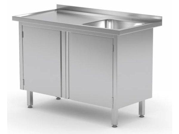 XXLselect Cupboard + sink (right) + 2 Swing doors 400x400x (h) 250 | Heavy Duty | 700 (b) x600 (d) mm | CHOICE OF 9 WIDTHS