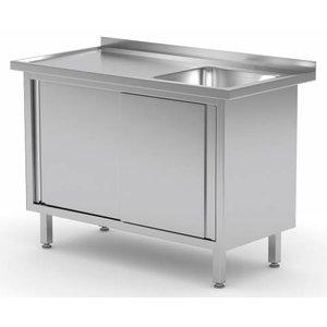 XXLselect Cupboard + sink (right) + 2 Sliding 500x400x (h) 250 | Heavy Duty | 800 (b) x700 (d) mm | CHOICE OF 12 WIDTHS