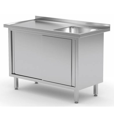 XXLselect Cupboard + sink (right) + 2 Sliding 400x400x (h) 250 | Heavy Duty | 800 (b) x600 (d) mm | CHOICE OF 12 WIDTHS