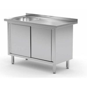 XXLselect Cupboard + Sink (left) 400x400x (h) 250 + 2 Sliding doors   Heavy Duty   800 (b) x600 (d) mm   CHOICE OF 12 WIDTHS
