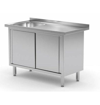 XXLselect Cupboard + Sink (left) 400x400x (h) 250 + 2 Sliding doors | Heavy Duty | 800 (b) x600 (d) mm | CHOICE OF 12 WIDTHS